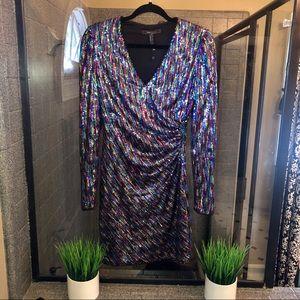 Bcbgmaxazria multi colored sequin body-con dress